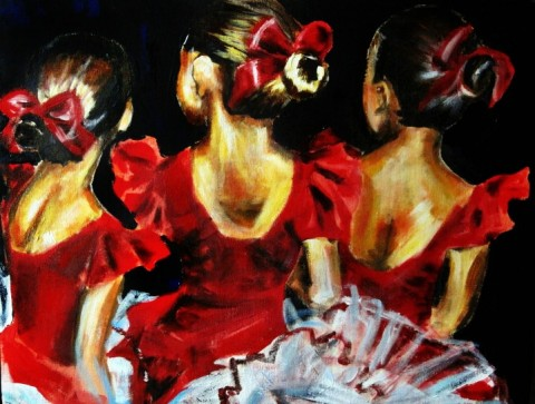 Shaina-Helm-Three-Ballerinas-in-Red-Acrylic-Painting